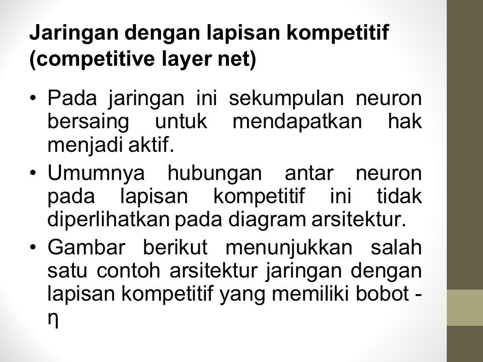 Jaringan dengan lapisan kompetitif (competitive layer net) Pada jaringan ini sekumpulan neuron bersaing untuk mendapatkan hak menjadi aktif. Umumnya h