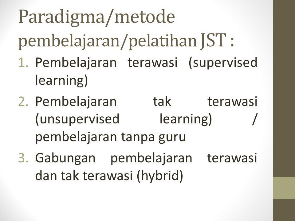 Paradigma/metode pembelajaran/pelatihan JST : 1.Pembelajaran terawasi (supervised learning) 2.Pembelajaran tak terawasi (unsupervised learning) / pemb