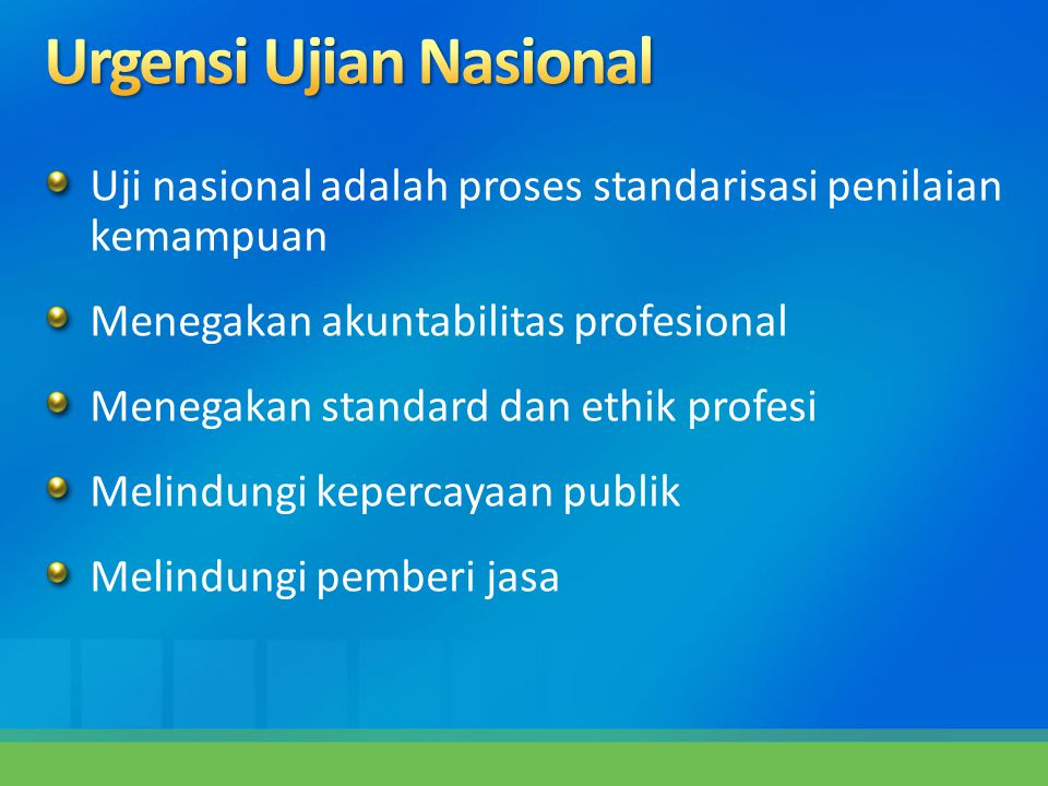 Uji nasional adalah proses standarisasi penilaian kemampuan Menegakan akuntabilitas profesional Menegakan standard dan ethik profesi Melindungi keperc