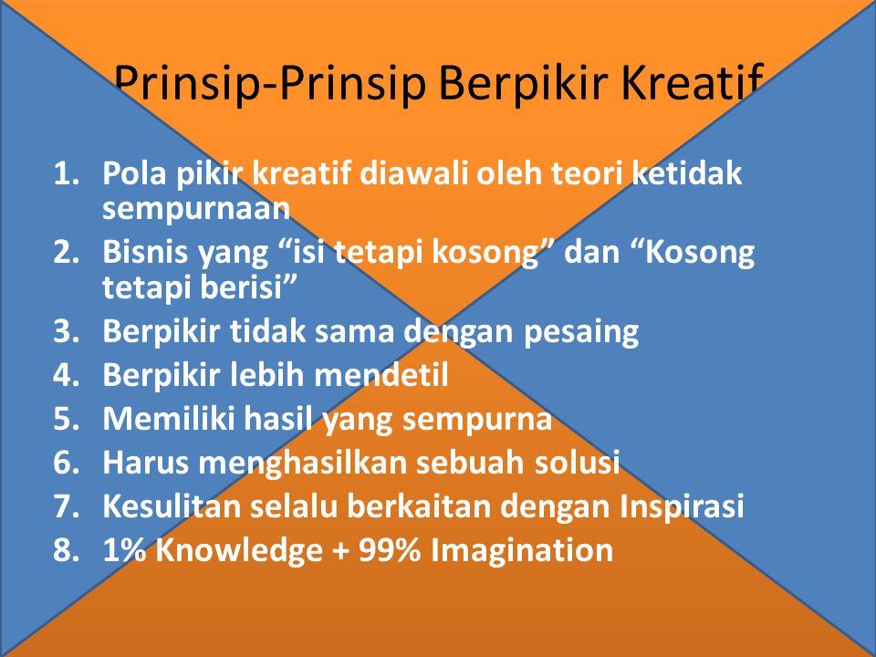 """Prinsip-Prinsip Berpikir Kreatif 1.Pola pikir kreatif diawali oleh teori ketidak sempurnaan 2.Bisnis yang """"isi tetapi kosong"""" dan """"Kosong tetapi beris"""