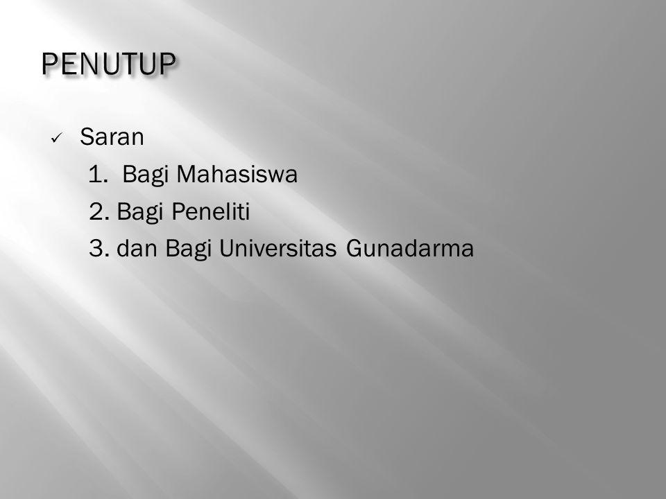 Saran 1. Bagi Mahasiswa 2. Bagi Peneliti 3. dan Bagi Universitas Gunadarma