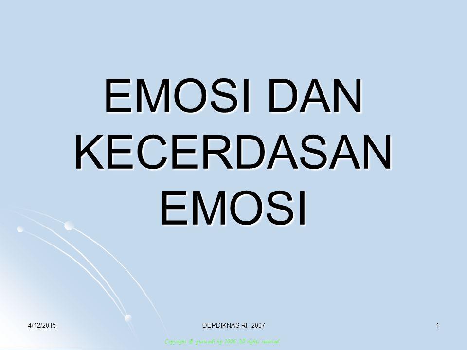 4/12/2015DEPDIKNAS RI, 20072 PENGERTIAN EMOSI The Lexicon Webster Dictionary : Emotion (n) Latin : Emovere (pp.