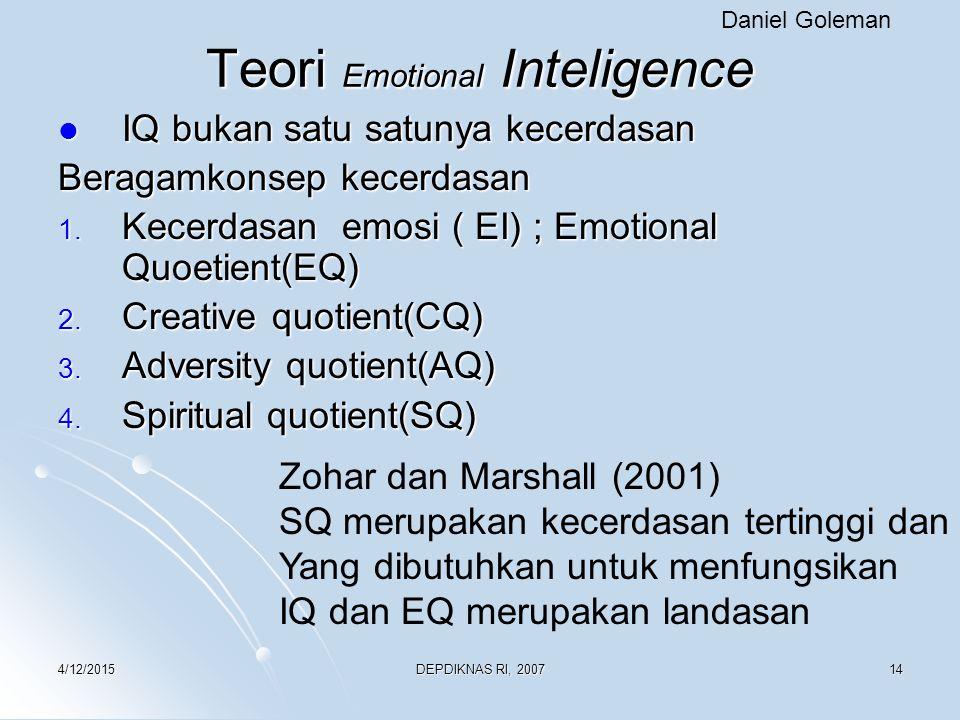 4/12/2015DEPDIKNAS RI, 200714 Teori Emotional Inteligence IQ bukan satu satunya kecerdasan IQ bukan satu satunya kecerdasan Beragamkonsep kecerdasan 1