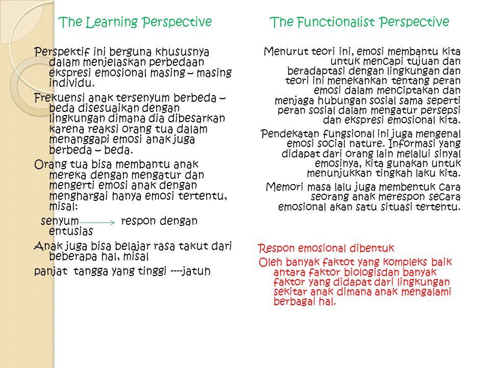 The Learning Perspective Perspektif ini berguna khususnya dalam menjelaskan perbedaan ekspresi emosional masing – masing individu. Frekuensi anak ters