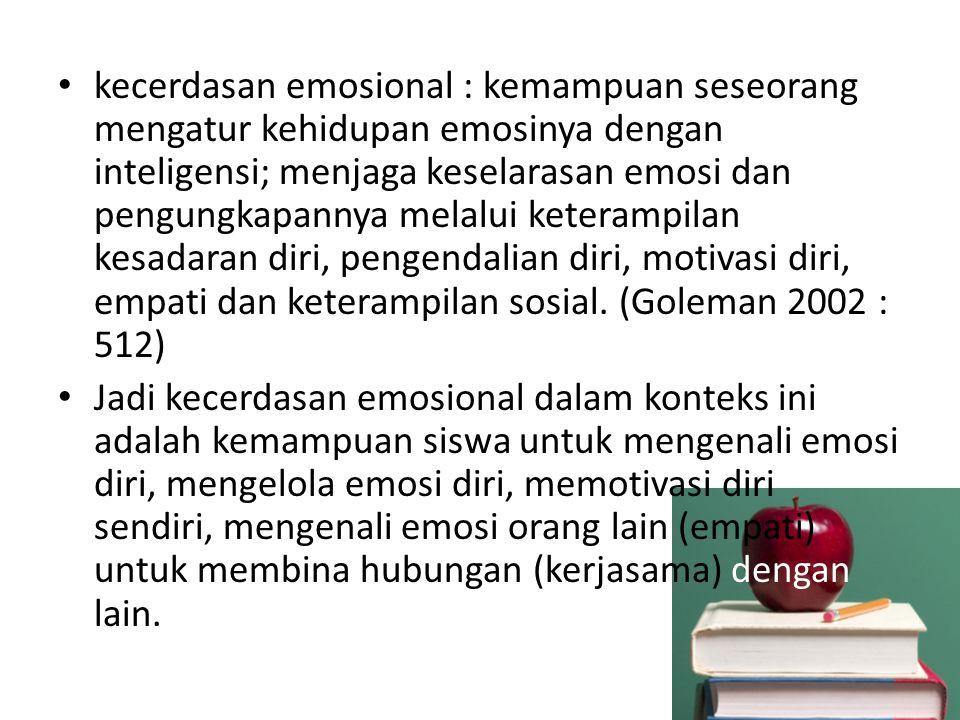 kecerdasan emosional : kemampuan seseorang mengatur kehidupan emosinya dengan inteligensi; menjaga keselarasan emosi dan pengungkapannya melalui keter