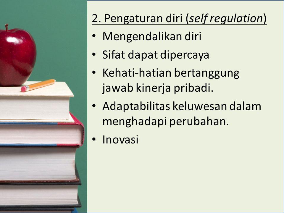 2. Pengaturan diri (self regulation) Mengendalikan diri Sifat dapat dipercaya Kehati-hatian bertanggung jawab kinerja pribadi. Adaptabilitas keluwesan