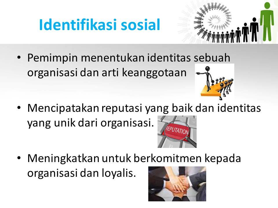 Identifikasi sosial Pemimpin menentukan identitas sebuah organisasi dan arti keanggotaan Mencipatakan reputasi yang baik dan identitas yang unik dari