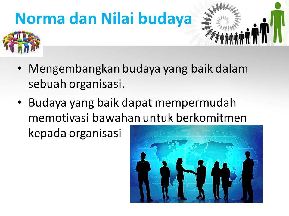 Norma dan Nilai budaya Mengembangkan budaya yang baik dalam sebuah organisasi. Budaya yang baik dapat mempermudah memotivasi bawahan untuk berkomitmen