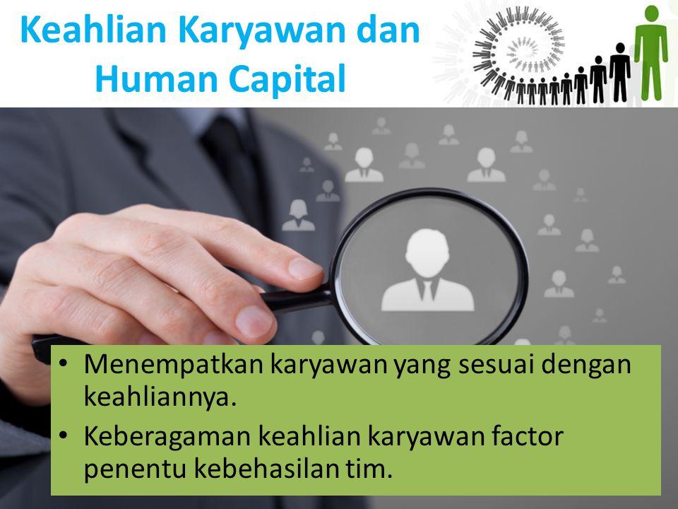 Keahlian Karyawan dan Human Capital Menempatkan karyawan yang sesuai dengan keahliannya. Keberagaman keahlian karyawan factor penentu kebehasilan tim.