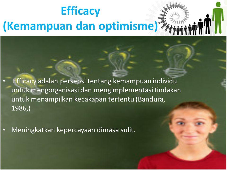 Efficacy (Kemampuan dan optimisme) Efficacy adalah persepsi tentang kemampuan individu untuk mengorganisasi dan mengimplementasi tindakan untuk menamp