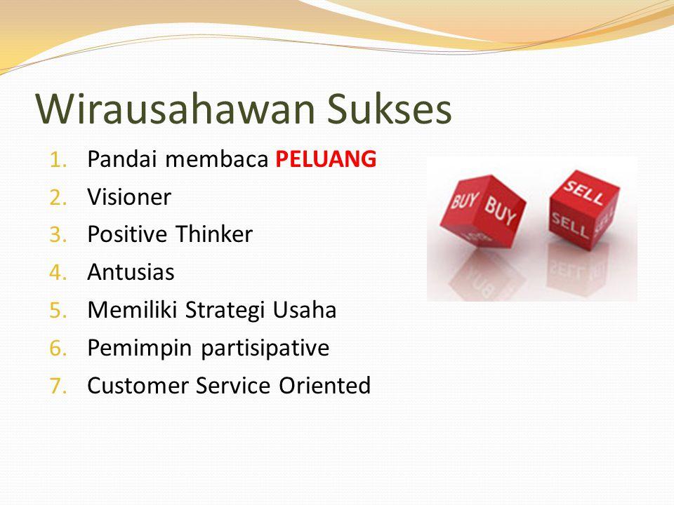 Wirausahawan Sukses 1. Pandai membaca PELUANG 2. Visioner 3. Positive Thinker 4. Antusias 5. Memiliki Strategi Usaha 6. Pemimpin partisipative 7. Cust