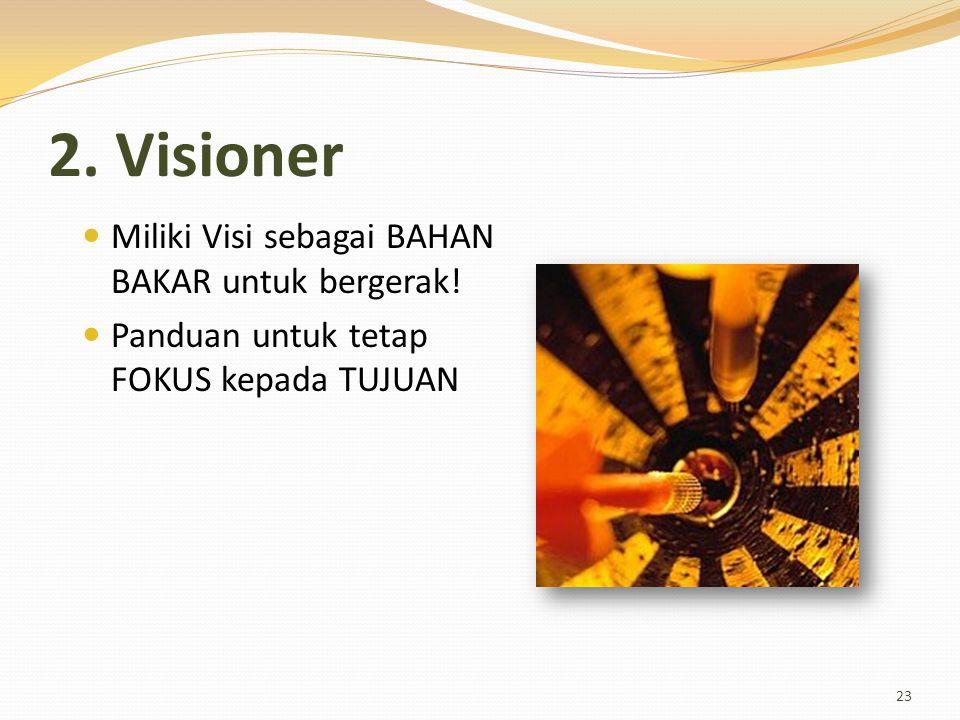 2. Visioner Miliki Visi sebagai BAHAN BAKAR untuk bergerak! Panduan untuk tetap FOKUS kepada TUJUAN 23
