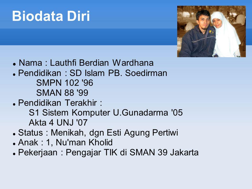 Biodata Diri Nama : Lauthfi Berdian Wardhana Pendidikan : SD Islam PB.