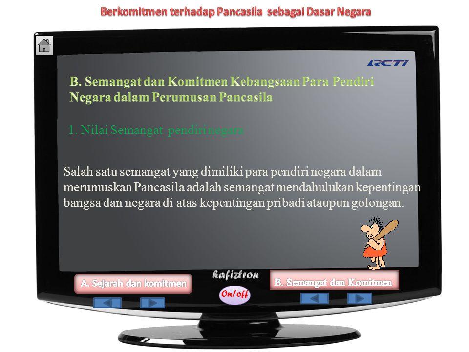 On/off 3. Ir.Soekarno pada tanggal 1 Juni 1945. Dalam pidatonya, Ir. Soekarno mengemukakan dasar negara Indonesia merdeka: 1. Kebangsaan Indonesia 2.