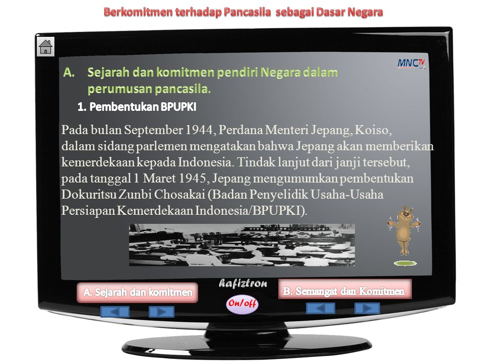 On/off 2.1 Menunjukkan semangat dan komitmen kebangsaan seperti yang ditunjukkan oleh para pendiri negara dalam perumusan Pancasila sebagai dasar nega