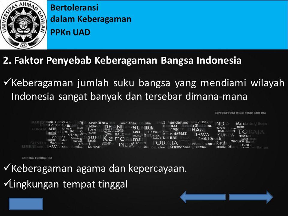 Bertoleransi dalam Keberagaman PPKn UAD 2.Di bawah ini merupakan faktor-faktor yang menyebabkan terjadinya keberagaman di Indonesia, kecuali....