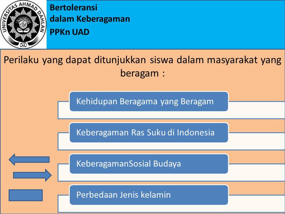 Bertoleransi dalam Keberagaman PPKn UAD Kehidupan Beragama yang BeragamKeberagaman Ras Suku di IndonesiaKeberagamanSosial BudayaPerbedaan Jenis kelamin Perilaku yang dapat ditunjukkan siswa dalam masyarakat yang beragam :