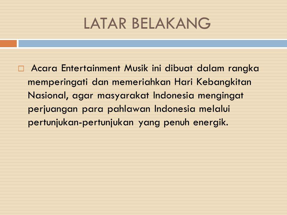 PROGRAM DESCRIPTION  Format acara: Musik Konser  Tipe Produksi: Live  Durasi: 60 menit  Lokasi: Balai Sarbini Jakarta  Main Content: Seni opera, tarian-tarian yang penuh semangat dan sensasi.