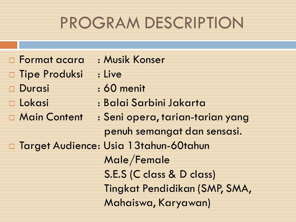PROGRAM DESCRIPTION  Format acara: Musik Konser  Tipe Produksi: Live  Durasi: 60 menit  Lokasi: Balai Sarbini Jakarta  Main Content: Seni opera,