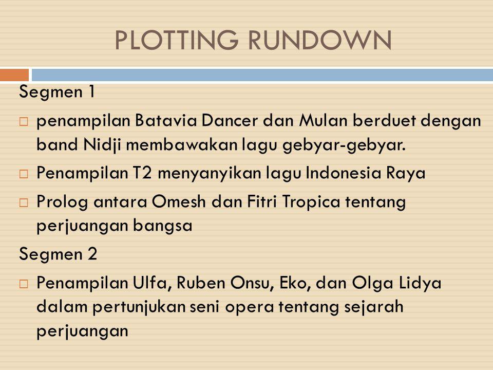 PLOTTING RUNDOWN Segmen 1  penampilan Batavia Dancer dan Mulan berduet dengan band Nidji membawakan lagu gebyar-gebyar.  Penampilan T2 menyanyikan l