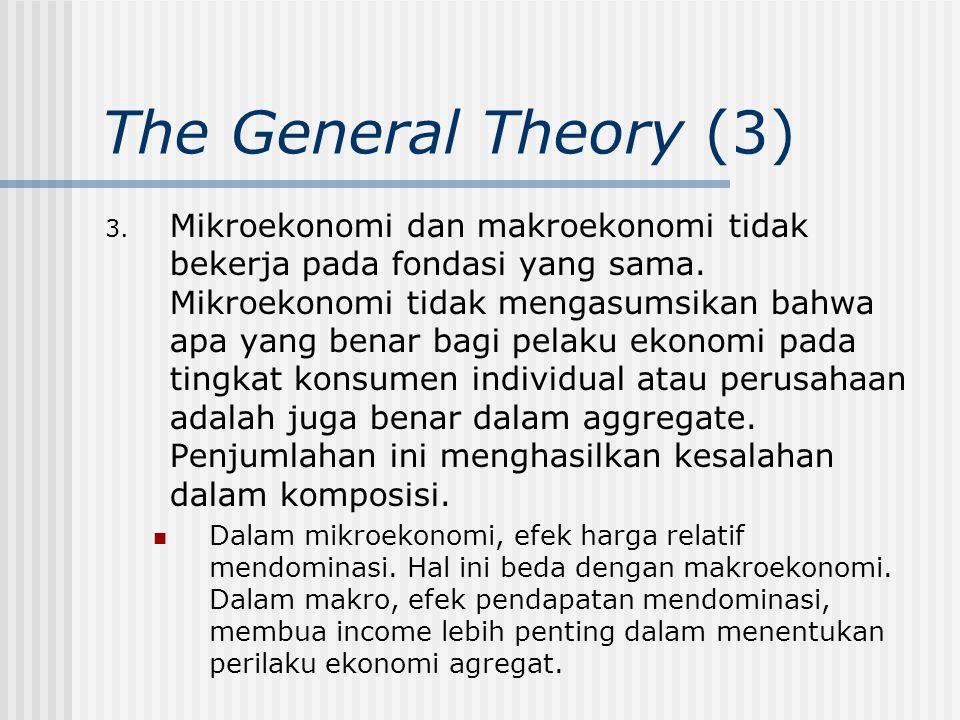 The General Theory (3) 3. Mikroekonomi dan makroekonomi tidak bekerja pada fondasi yang sama. Mikroekonomi tidak mengasumsikan bahwa apa yang benar ba