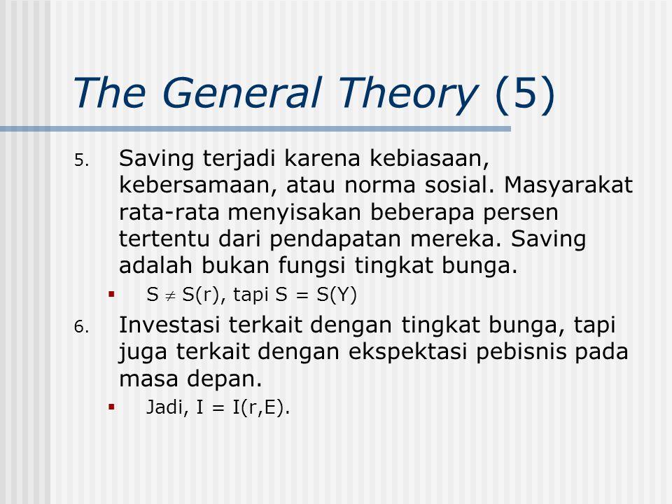 The General Theory (5) 5. Saving terjadi karena kebiasaan, kebersamaan, atau norma sosial. Masyarakat rata-rata menyisakan beberapa persen tertentu da