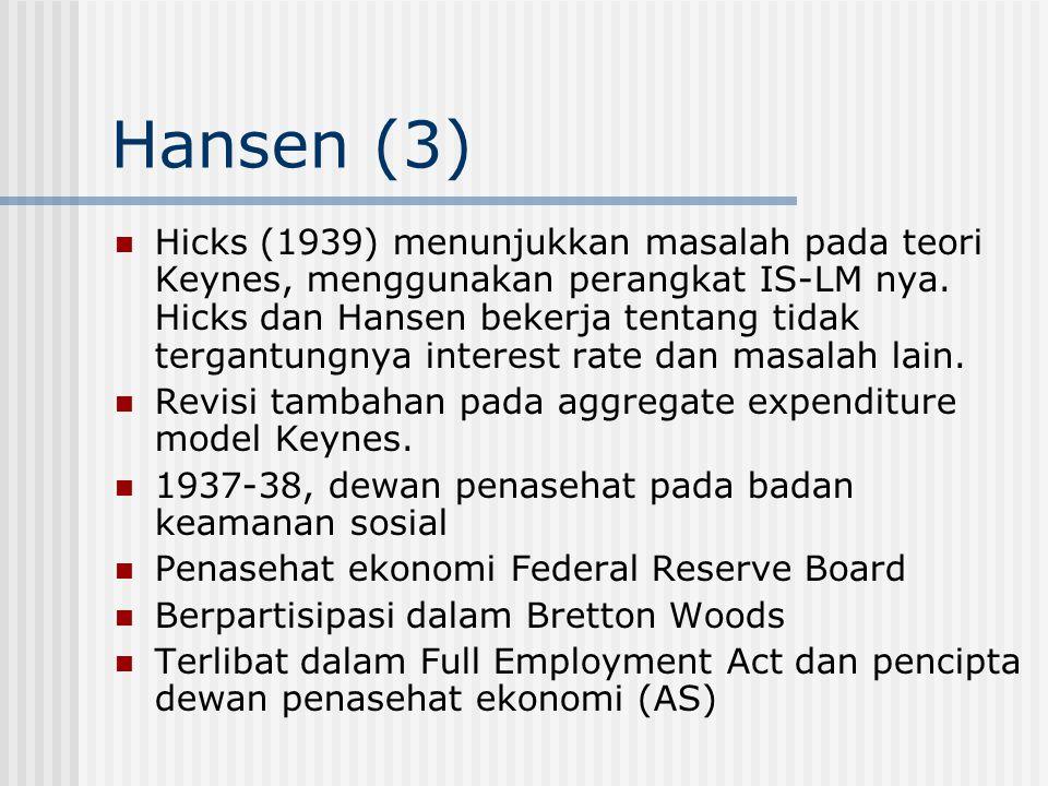 Hansen (3) Hicks (1939) menunjukkan masalah pada teori Keynes, menggunakan perangkat IS-LM nya. Hicks dan Hansen bekerja tentang tidak tergantungnya i