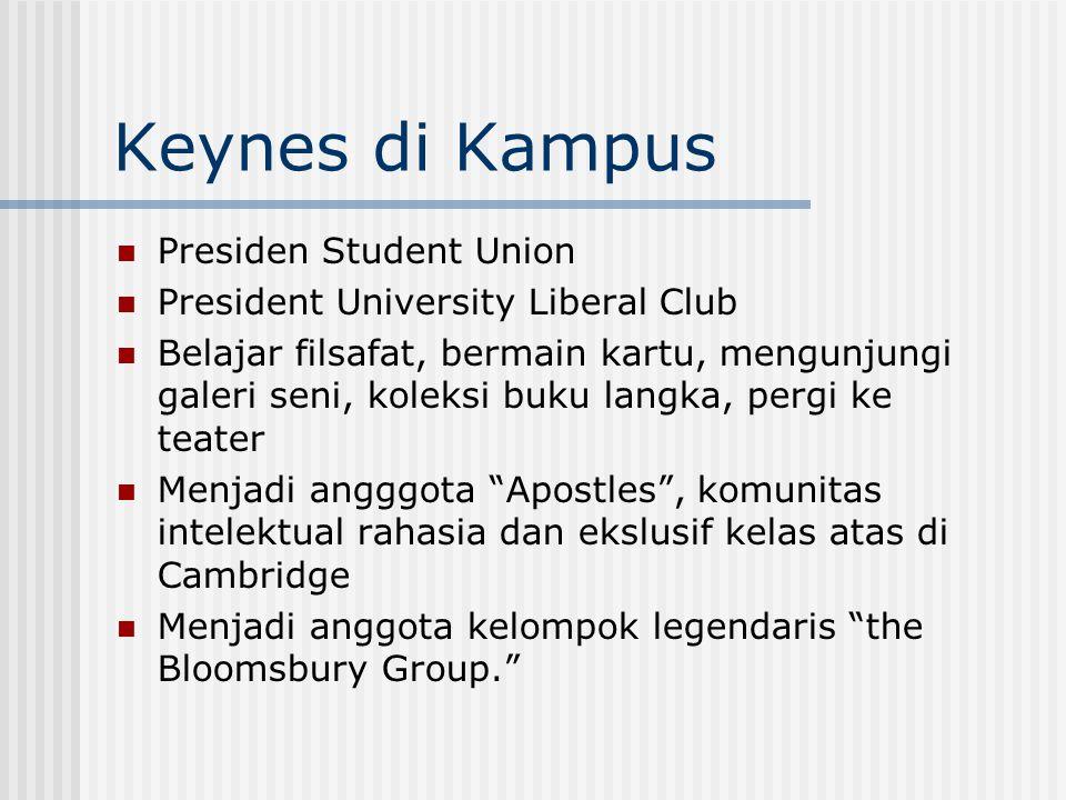 Keynes di Kampus Presiden Student Union President University Liberal Club Belajar filsafat, bermain kartu, mengunjungi galeri seni, koleksi buku langk