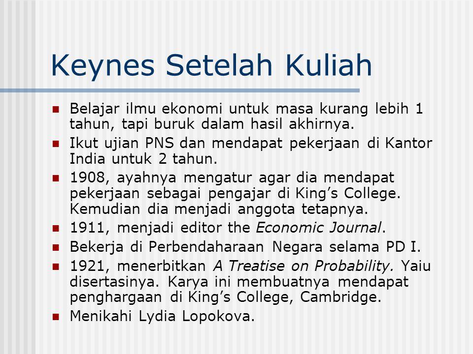 Keynes Setelah Kuliah Belajar ilmu ekonomi untuk masa kurang lebih 1 tahun, tapi buruk dalam hasil akhirnya. Ikut ujian PNS dan mendapat pekerjaan di