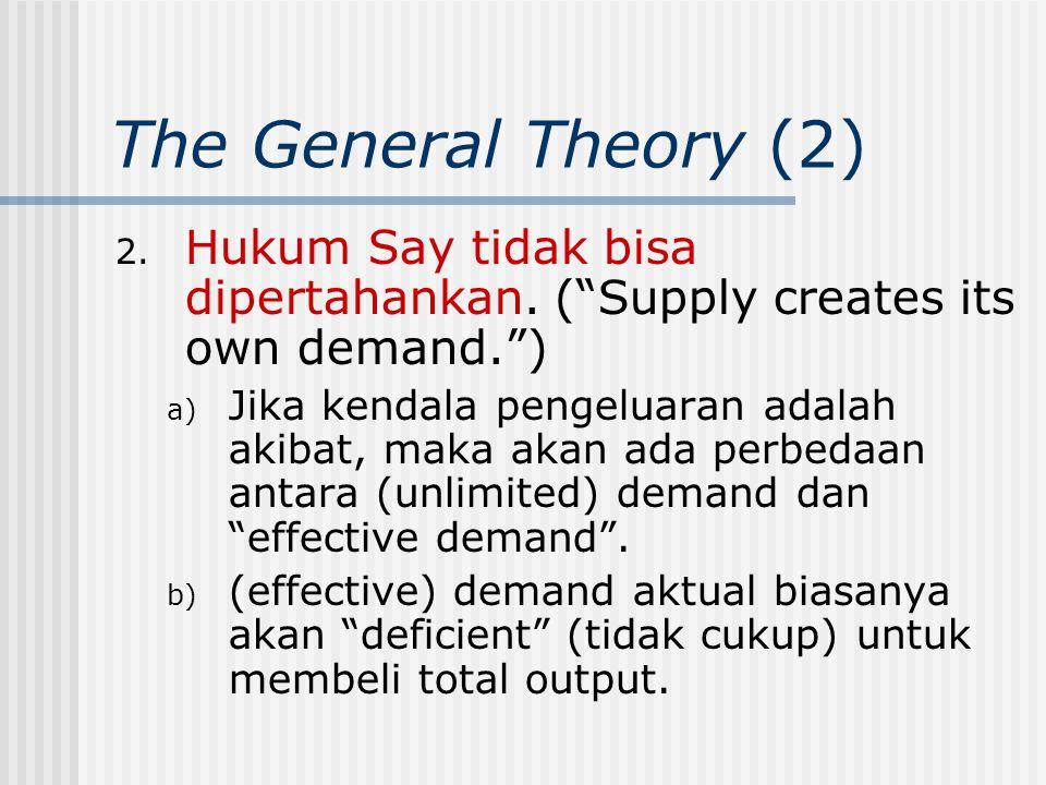 """The General Theory (2) 2. Hukum Say tidak bisa dipertahankan. (""""Supply creates its own demand."""") a) Jika kendala pengeluaran adalah akibat, maka akan"""