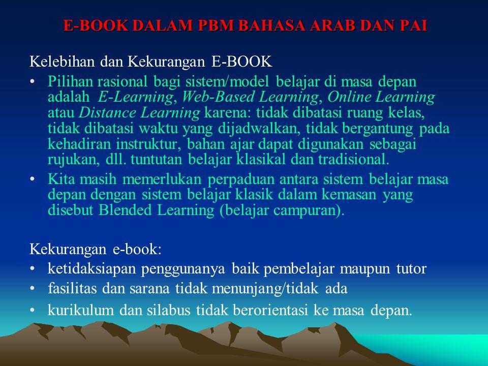 E-BOOK DALAM PBM BAHASA ARAB DAN PAI Format E-BOOK Ada beberapa format yang dikenal dalam dunia e-book: plain text (*.txt) format hypertext (*.htm/htm