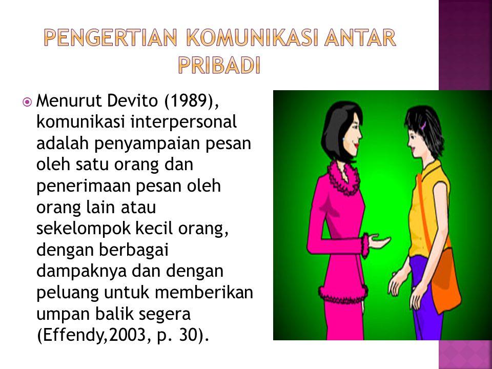  Menurut Devito (1989), komunikasi interpersonal adalah penyampaian pesan oleh satu orang dan penerimaan pesan oleh orang lain atau sekelompok kecil