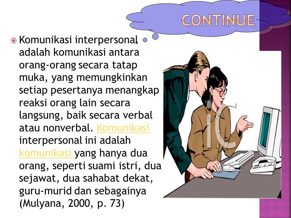  Komunikasi interpersonal adalah komunikasi antara orang-orang secara tatap muka, yang memungkinkan setiap pesertanya menangkap reaksi orang lain sec