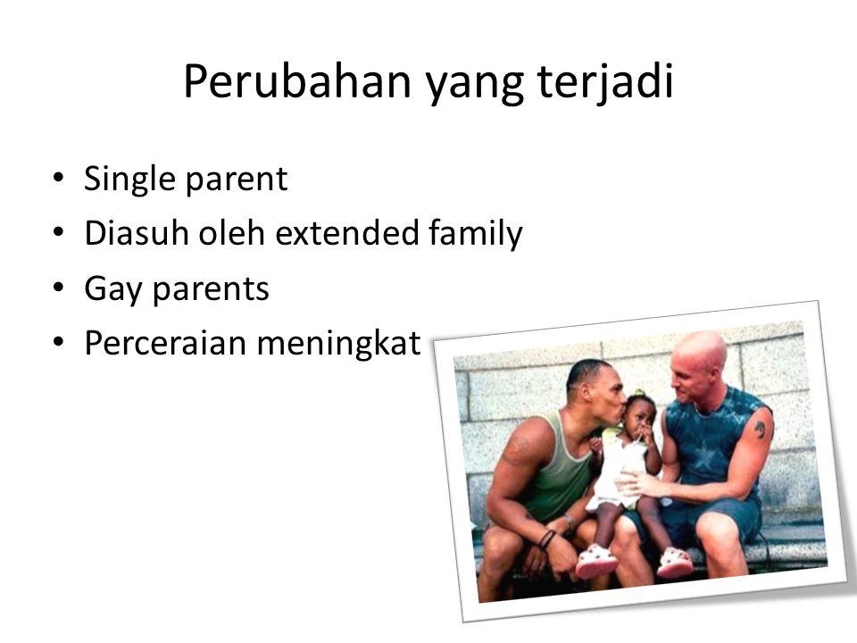 Perubahan yang terjadi Single parent Diasuh oleh extended family Gay parents Perceraian meningkat