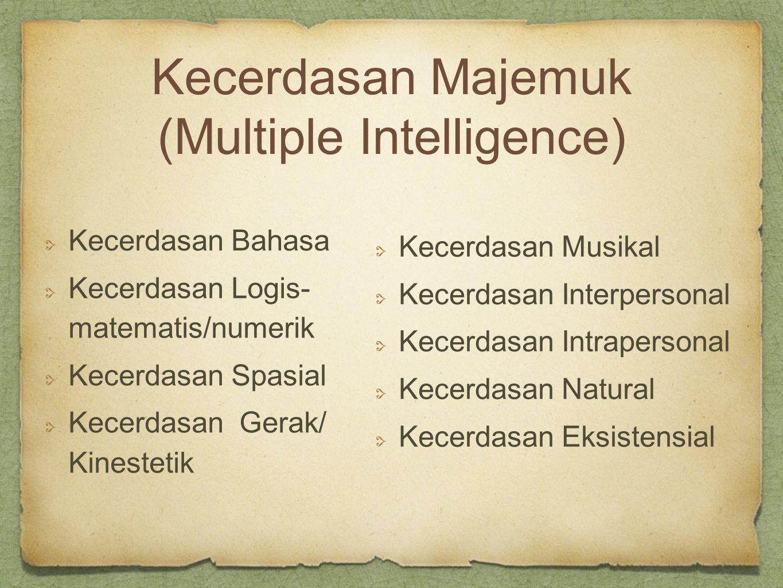 Kecerdasan Majemuk (Multiple Intelligence) Kecerdasan Bahasa Kecerdasan Logis- matematis/numerik Kecerdasan Spasial Kecerdasan Gerak/ Kinestetik Kecerdasan Musikal Kecerdasan Interpersonal Kecerdasan Intrapersonal Kecerdasan Natural Kecerdasan Eksistensial