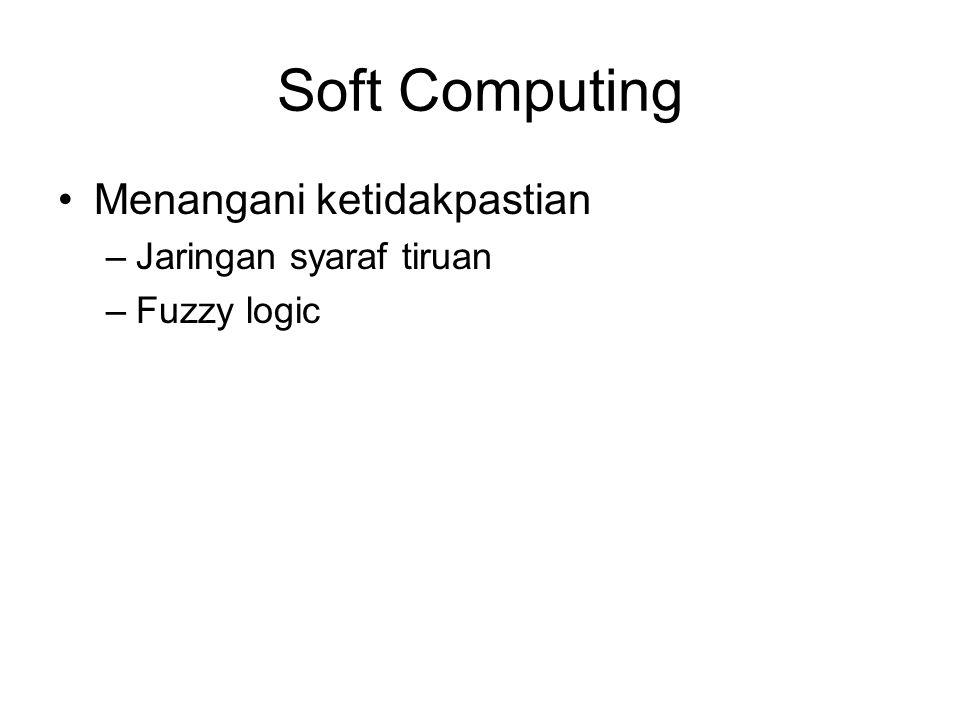 Soft Computing Menangani ketidakpastian –Jaringan syaraf tiruan –Fuzzy logic