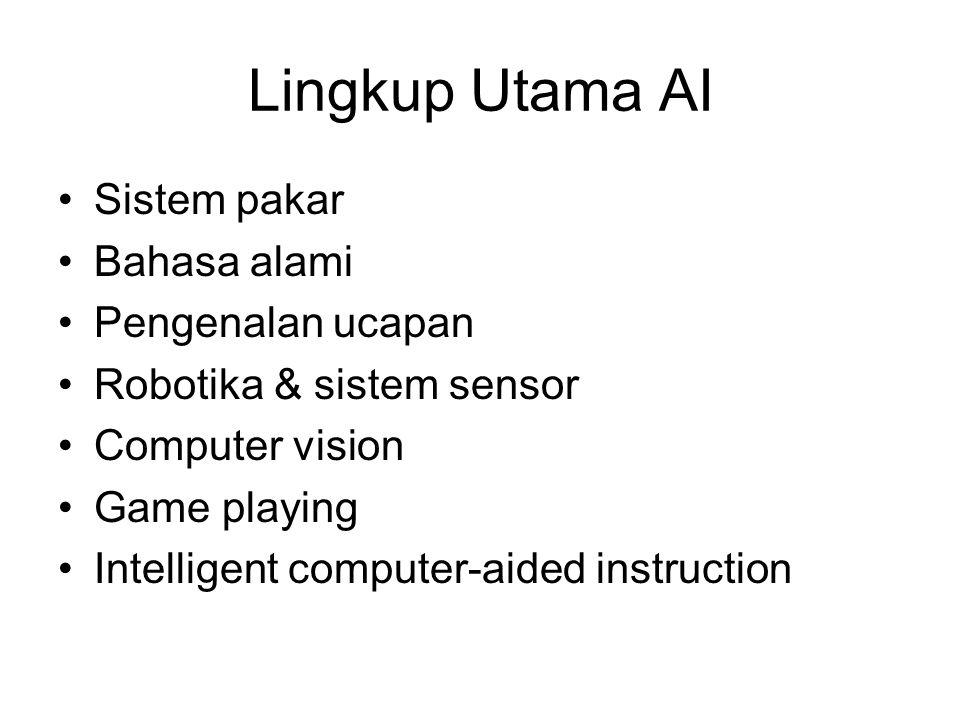 Lingkup Utama AI Sistem pakar Bahasa alami Pengenalan ucapan Robotika & sistem sensor Computer vision Game playing Intelligent computer-aided instruct