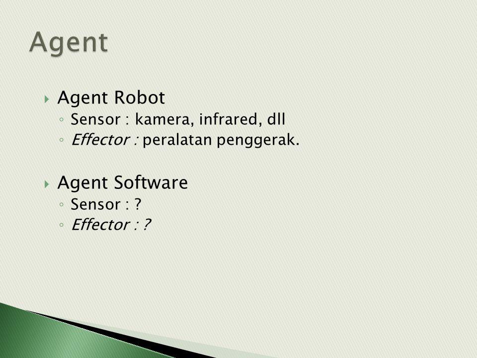  Agent Robot ◦ Sensor : kamera, infrared, dll ◦ Effector : peralatan penggerak.  Agent Software ◦ Sensor : ? ◦ Effector : ?