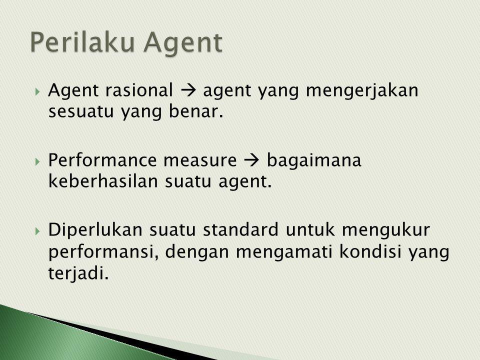  Agent rasional  agent yang mengerjakan sesuatu yang benar.  Performance measure  bagaimana keberhasilan suatu agent.  Diperlukan suatu standard