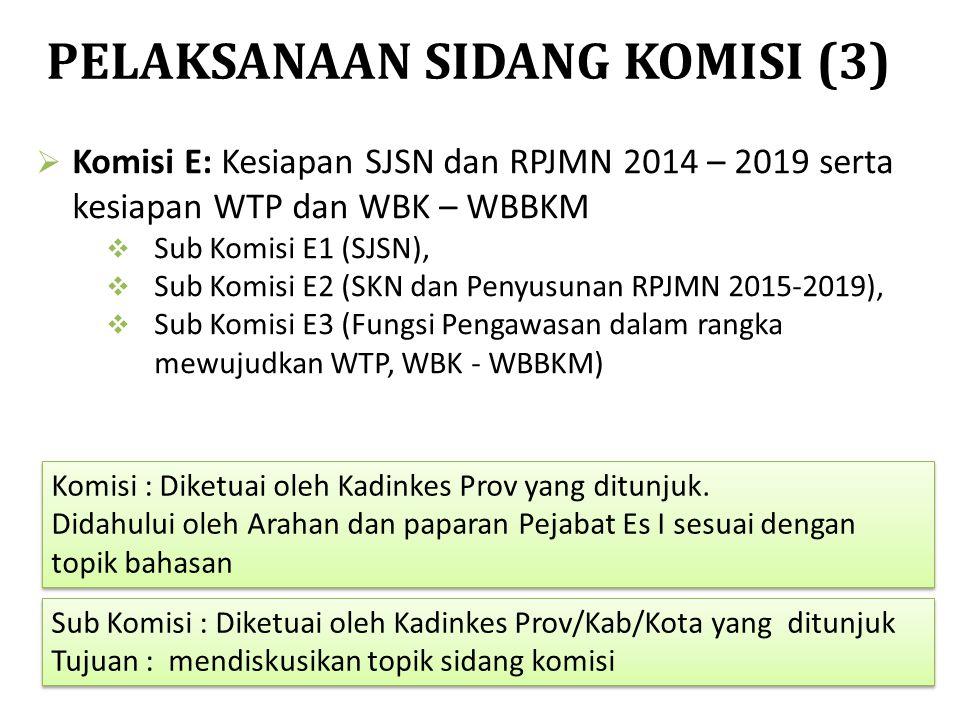  Komisi E: Kesiapan SJSN dan RPJMN 2014 – 2019 serta kesiapan WTP dan WBK – WBBKM  Sub Komisi E1 (SJSN),  Sub Komisi E2 (SKN dan Penyusunan RPJMN 2
