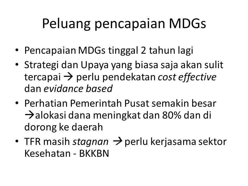Peluang pencapaian MDGs Pencapaian MDGs tinggal 2 tahun lagi Strategi dan Upaya yang biasa saja akan sulit tercapai  perlu pendekatan cost effective