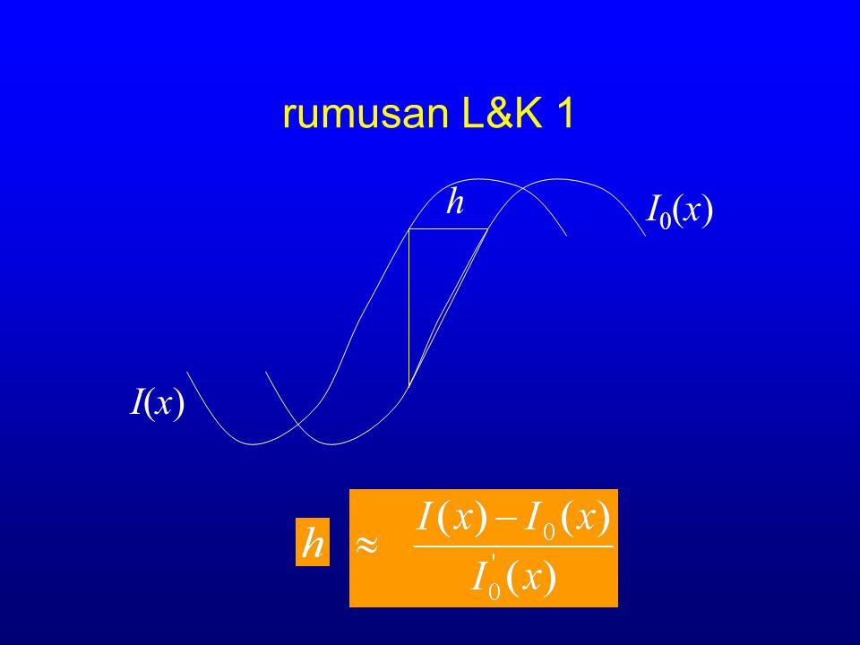 rumusan L&K 1 h I0(x)I0(x) I(x)I(x)