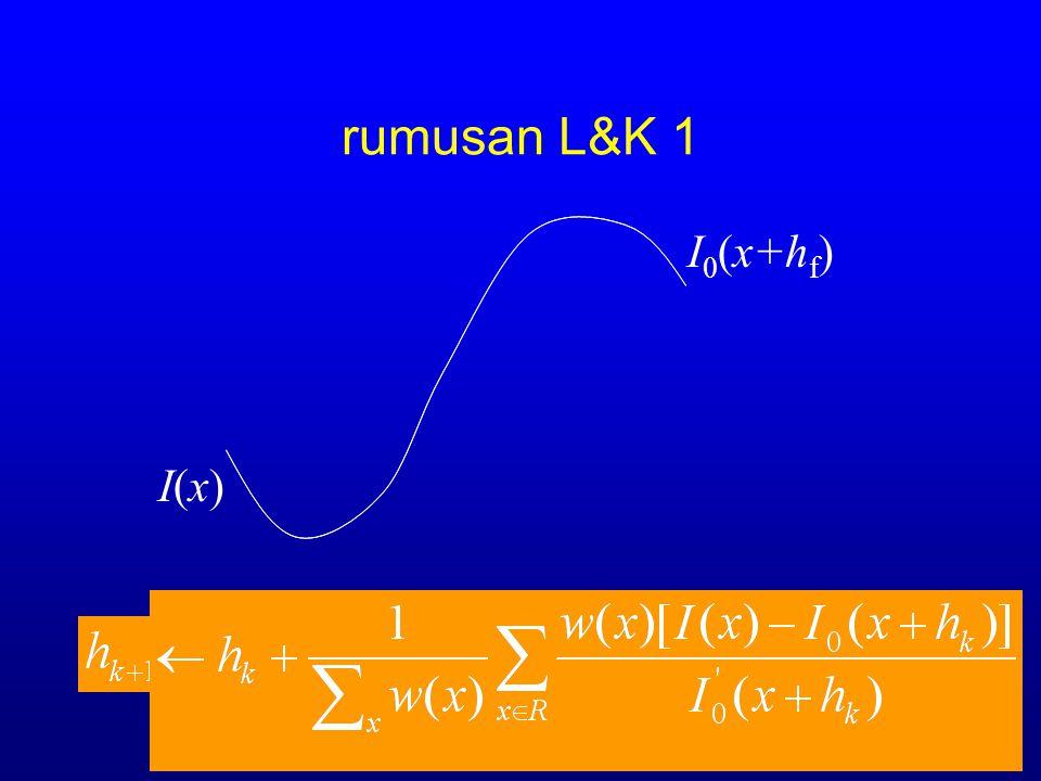 rumusan L&K 1 I 0 (x+h k ) I(x)I(x)
