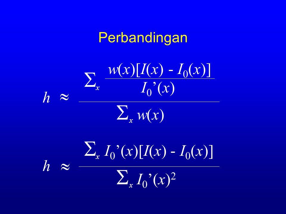 rumusan L&K 2  2[I 0 '(x)(I(x) - I 0 (x) ) - hI 0 '(x) 2 ] x e Rx e R  I 0 '(x)(I(x) - I 0 (x)) x e Rx e R h  I 0 '(x) 2 x e Rx e R = 0 = 0
