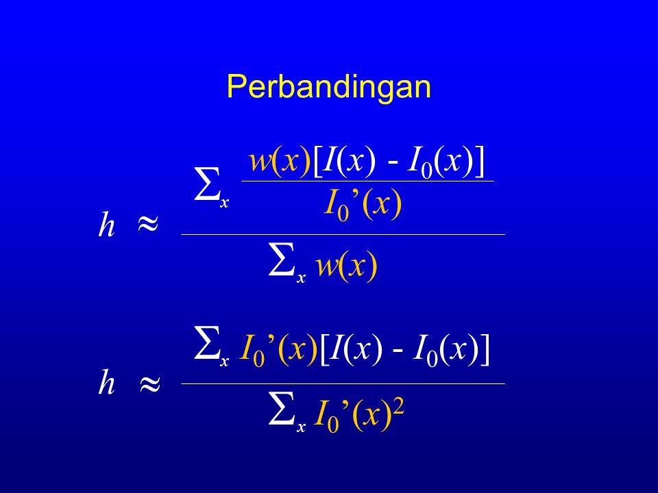 Perbandingan  I 0 '(x)[I(x) - I 0 (x)] h  I 0 '(x) 2 x x h w(x)[I(x) - I 0 (x)]  w(x) x x  I 0 '(x)