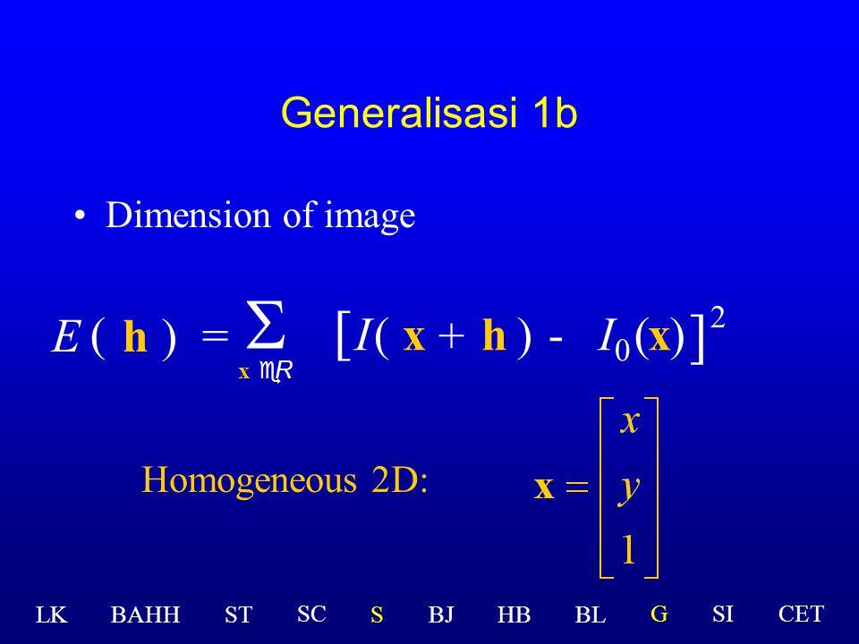 Generalisasi 1a Dimension of image h)=  x eR ( E [ I(x )-(x ] 2 ) + h 2D:  I  LK BAHHSTSBJHBBL GSICETSC