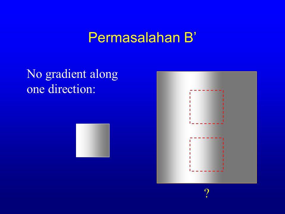 Permasalahan B' -  (x)(I(x) - I 0 (x)) x e Rx e R h y  2 x e Rx e R Aperture problem (mis. Image datar): LK BAHHSTSBJHBBL GSICETSC