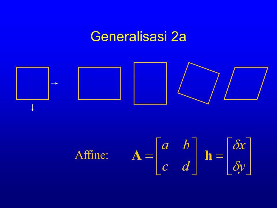 Generalisasi 2a Transformations/warping of image A, h)=  x eR ( E [ I(AxAx )-(x ] 2 ) + h Affine:  I  LK BAHHSTSBJHBBL GSICETSC