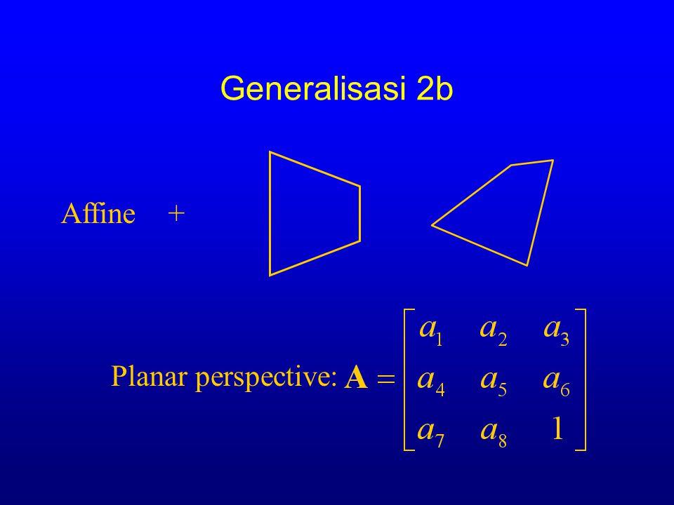 Generalisasi 2b Transformations/warping of image A)=  x eR ( E [ I(A x )-(x ] 2 ) Planar perspective:  I  LK BAHHSTSBJHBBL GSICETSC