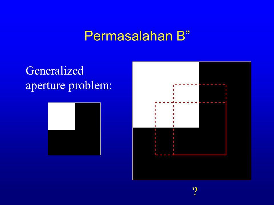 """Permasalahan B"""" -(J T J) -1 J (I(f(x,h)) - I 0 (x)) h ~ Generalized aperture problem: LK BAHHSTSBJHBBL GSICETSC -  I 0 '(x)(I(x) - I 0 (x)) x e Rx e"""